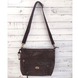 Fossil brown leather shoulder bag or cross body